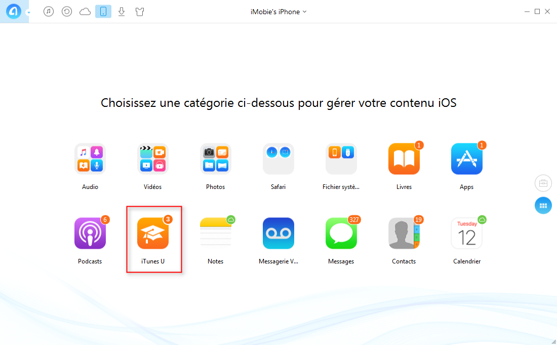 Comment transférer iTunes U iPhone vers iPhone – étape 2