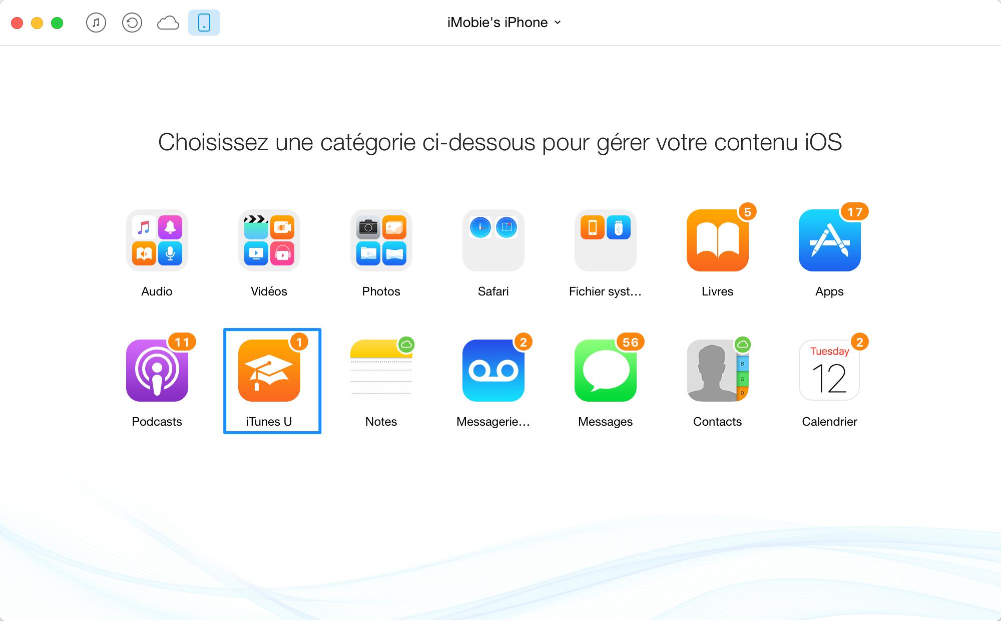 Comment transférer iTunes U de l'iPhone à iTunes - étape 2