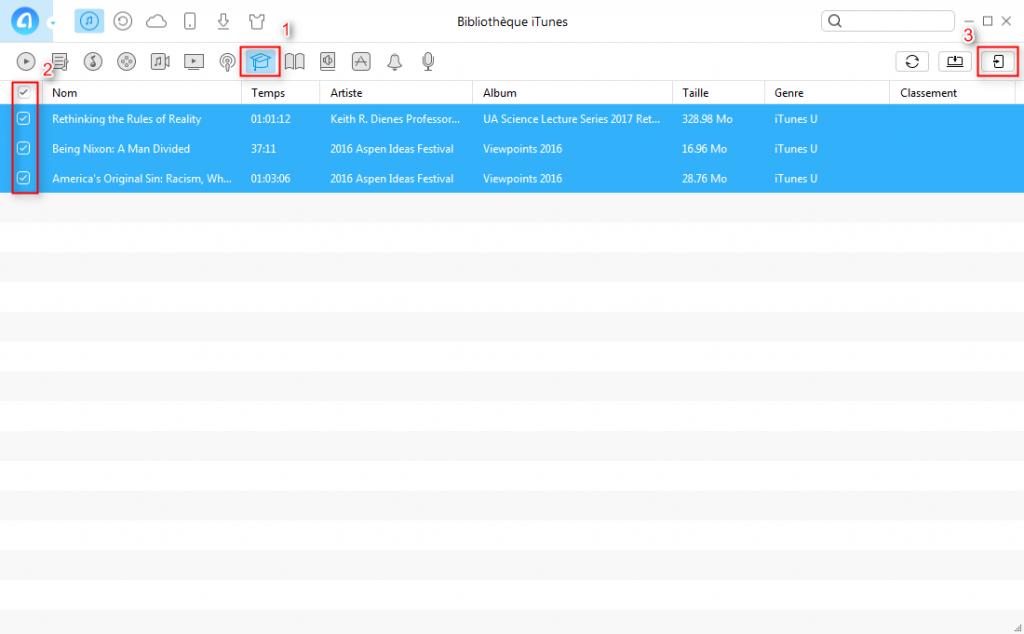 Comment transférer iTunes U iTunes vers iPhone – étape 2