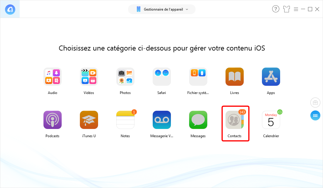 Comment transférer contact iPhone vers iPhone – étape 2