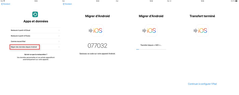 Transférer les données HUAWEI vers iPhone via MIgrer vers iOS
