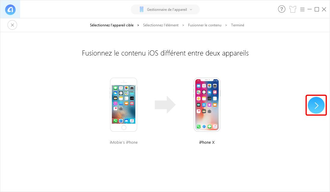 Transférer des données vers un nouvel iPhone en 1 clic - étape 3
