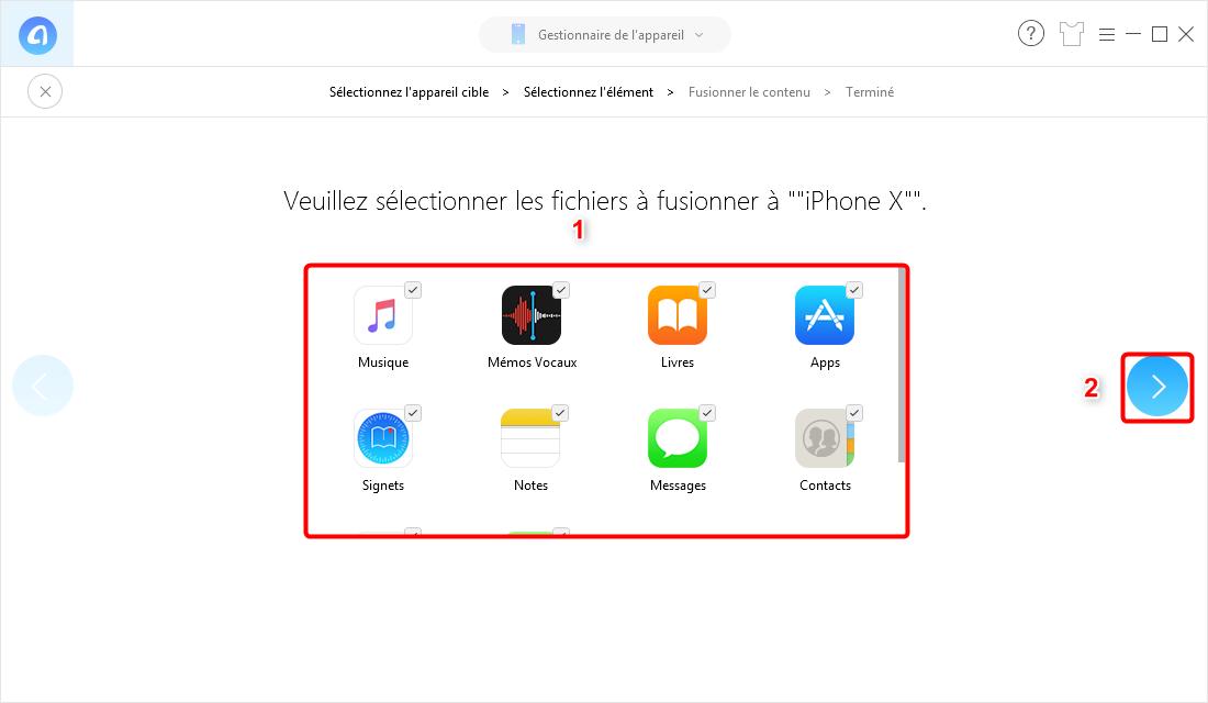 Transférer des données vers nouvel iPhone en un clic - étape 4
