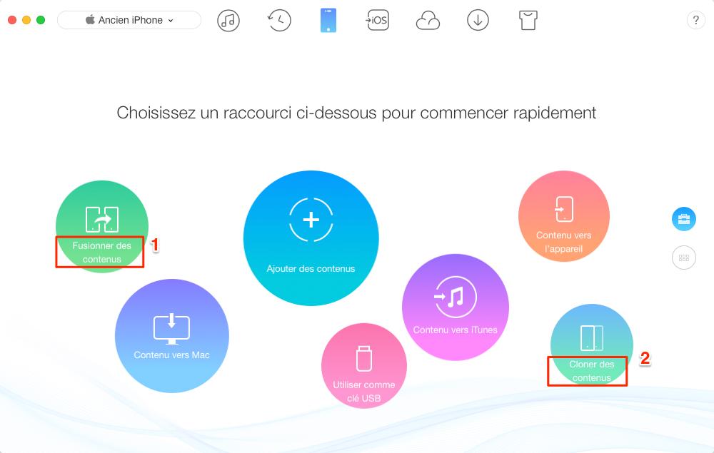 Transférer des données vers nouvel iPhone directement via AnyTrans - étape 2