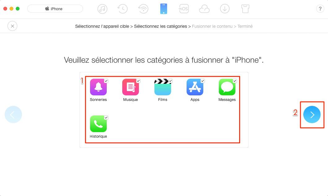 Transférer des données vers nouvel iPhone en un clic - étape 3