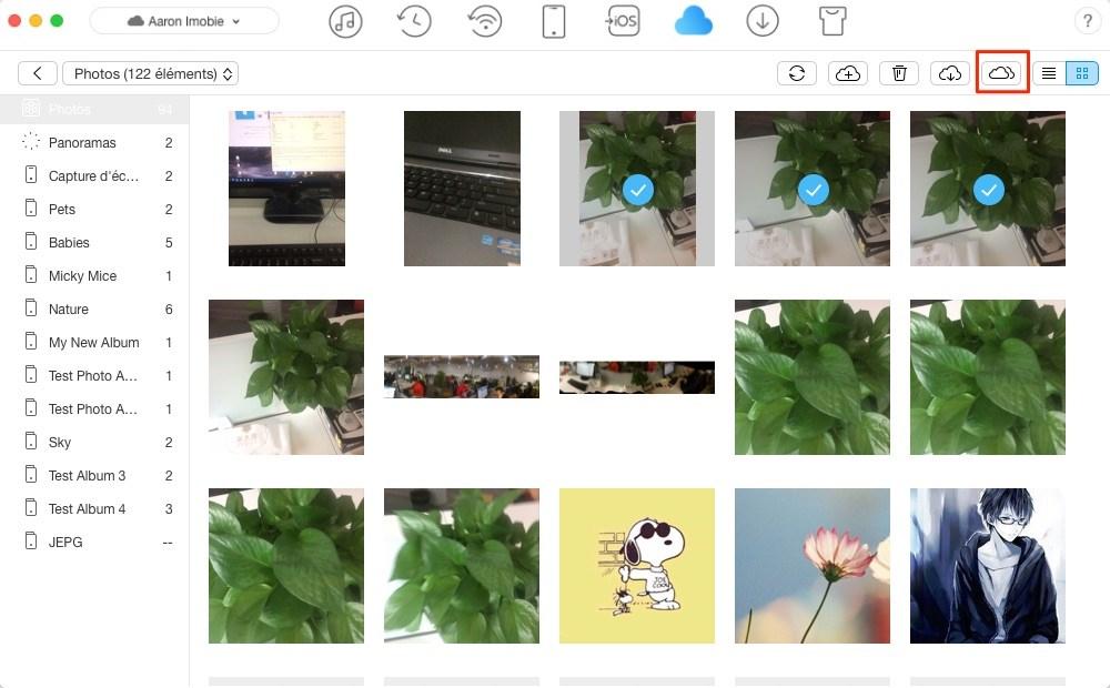 Envoyer les photos d'iCloud vers un autre – étape 3