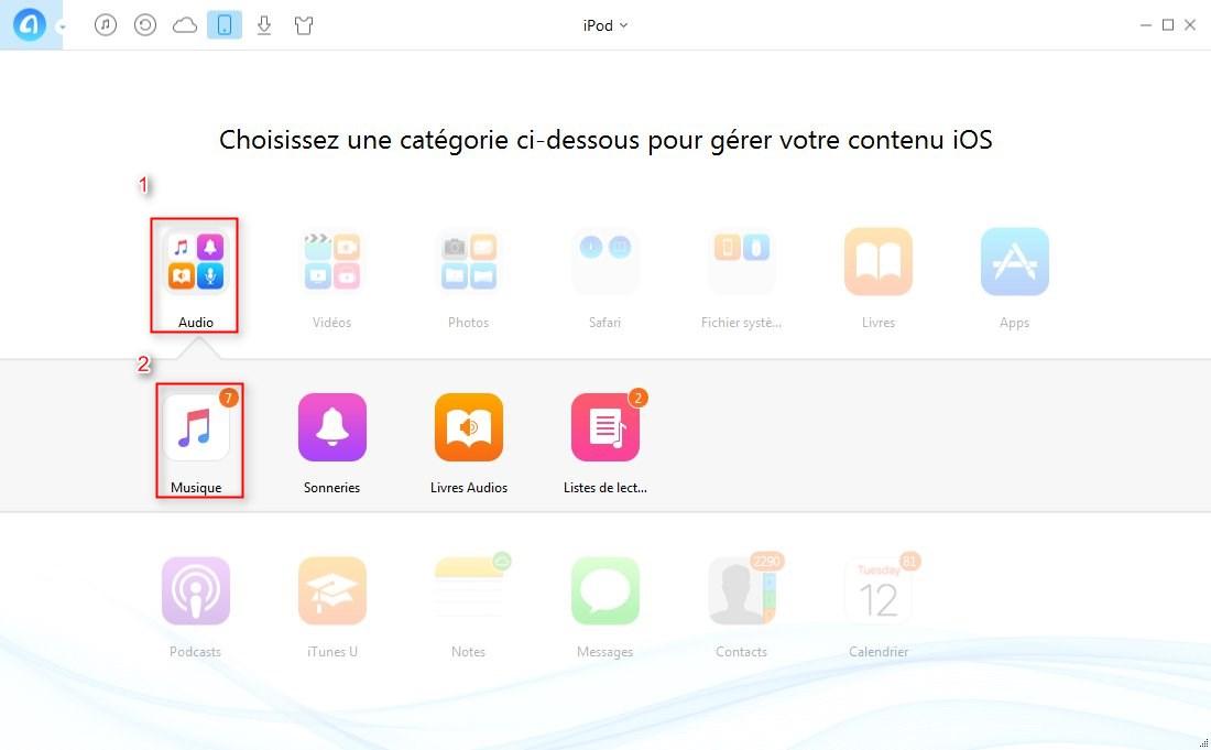 Transférer playlist iPod vers iTunes rapidement – étape 2