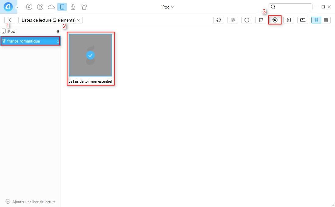 Comment transférer la liste de lecture iPod vers iTunes directement-étape 1