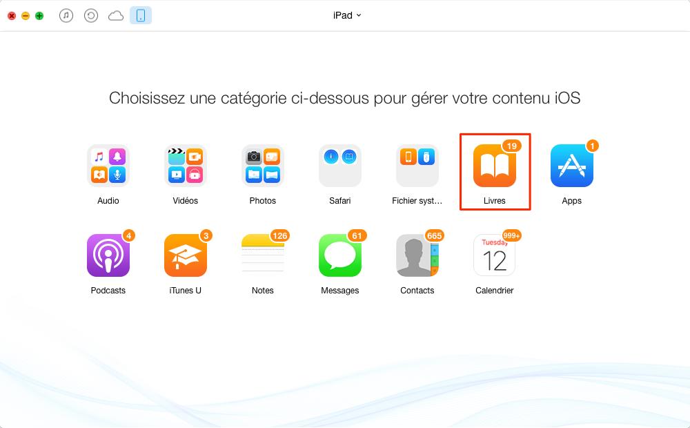 Méthode de transférer les livres entre iPad- étape 2