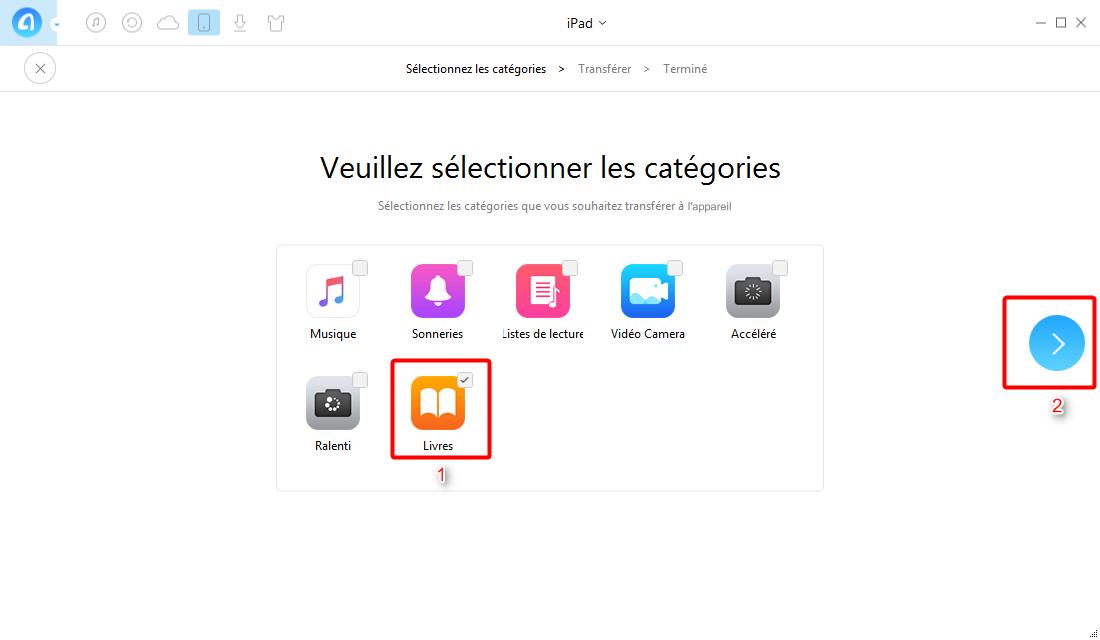 Transférer tous les livres entre iPad en un clic