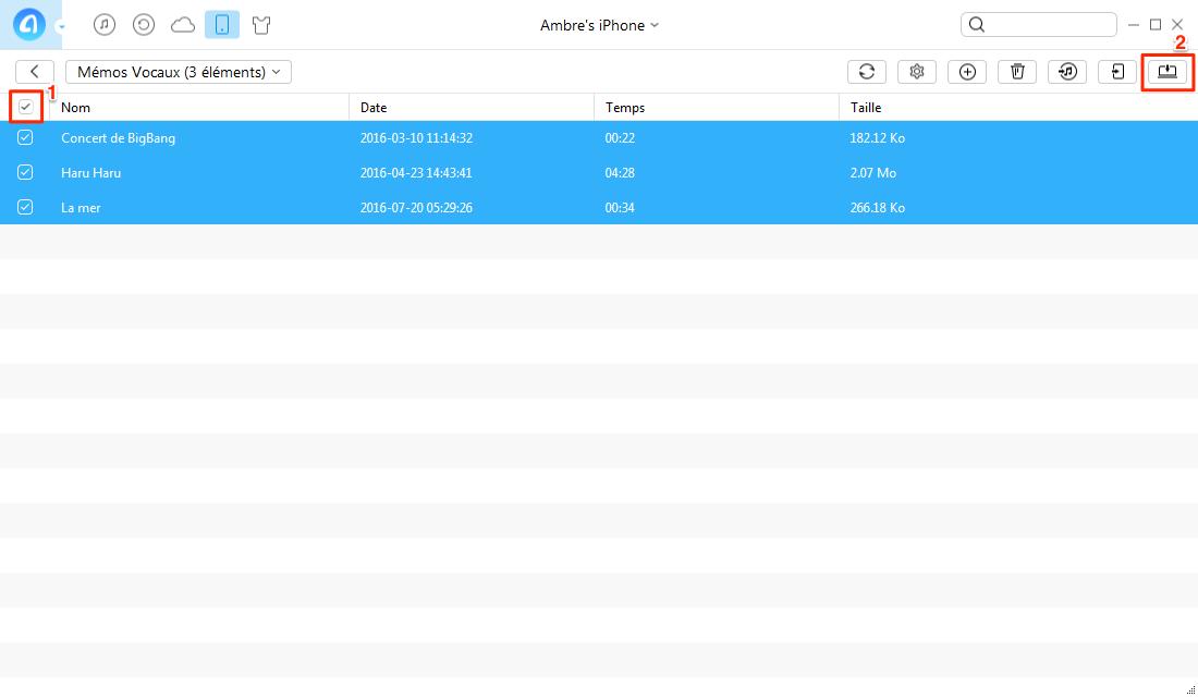 Copier Mémos vocaux depuis l'iPhone vers PC avec AnyTrans - étape 3