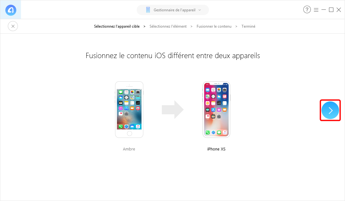 Comment envoyer des messages d'iPhone vers iPhone X/XS (Max)/XR- Étape 2