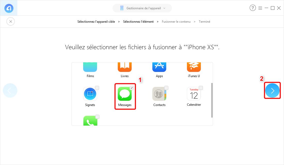 Copier des messages d'un iPhone à iPhoneX/XS (Max)/XR sans sauvegarde - Étape 3