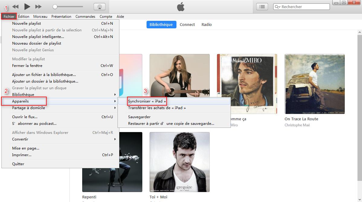 Transférer de la musique iPad vers iTunes avec la façon traditionnelle