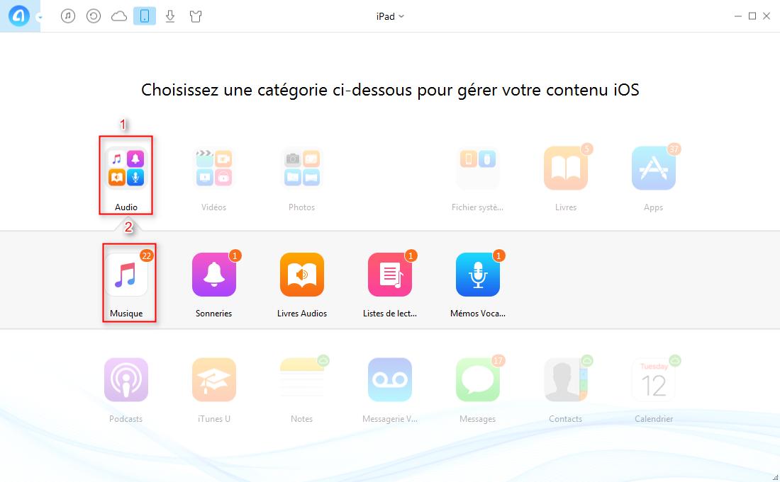 Transférer de la musique iPad vers iTunes facilement – étape 2