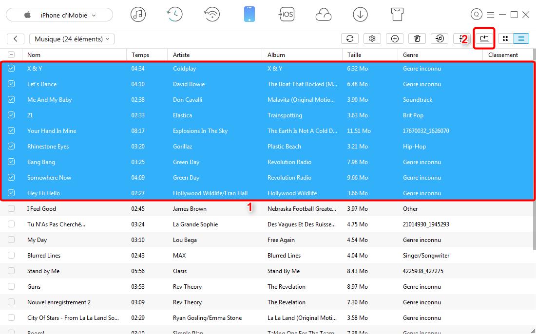 Transfert de musique de l'iPhone 7 (Plus) vers PC – étape 3