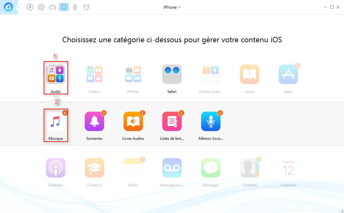 Transférer de la musique iPhone vers iPad facilement – étape 2
