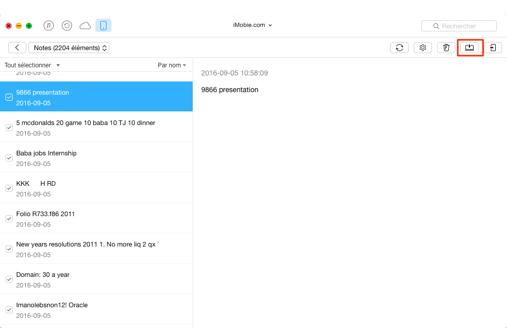 Comment exporter vos notes de l'iPad vers le Mac - étape 2