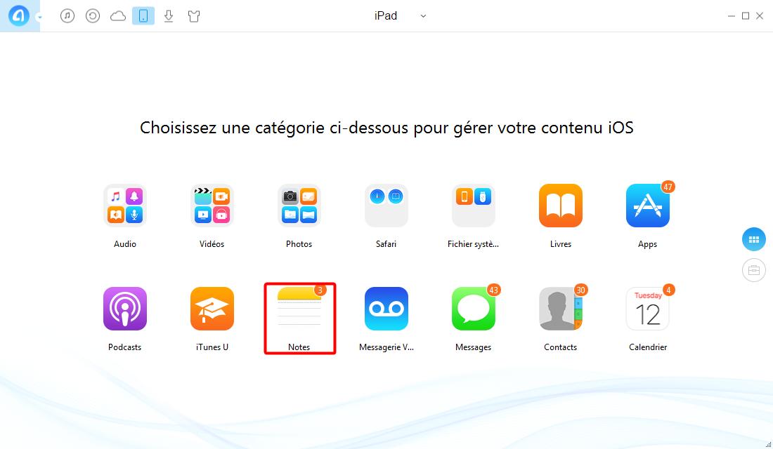 Transfert de notes iPad à un PC – étape 1