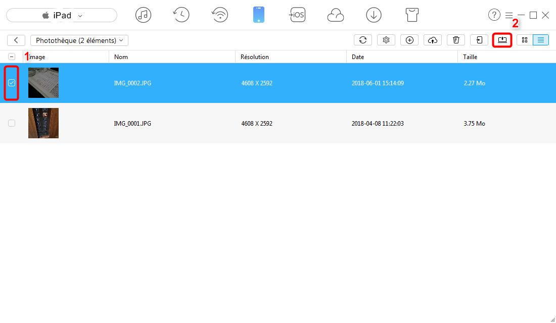 Comment exporter photos iPad vers PC – étape 3