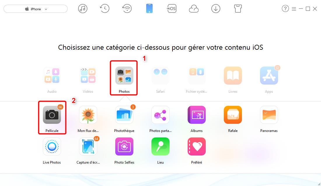 Envoyer plusieurs photos iPhone vers PC sans iTunes – étape 2
