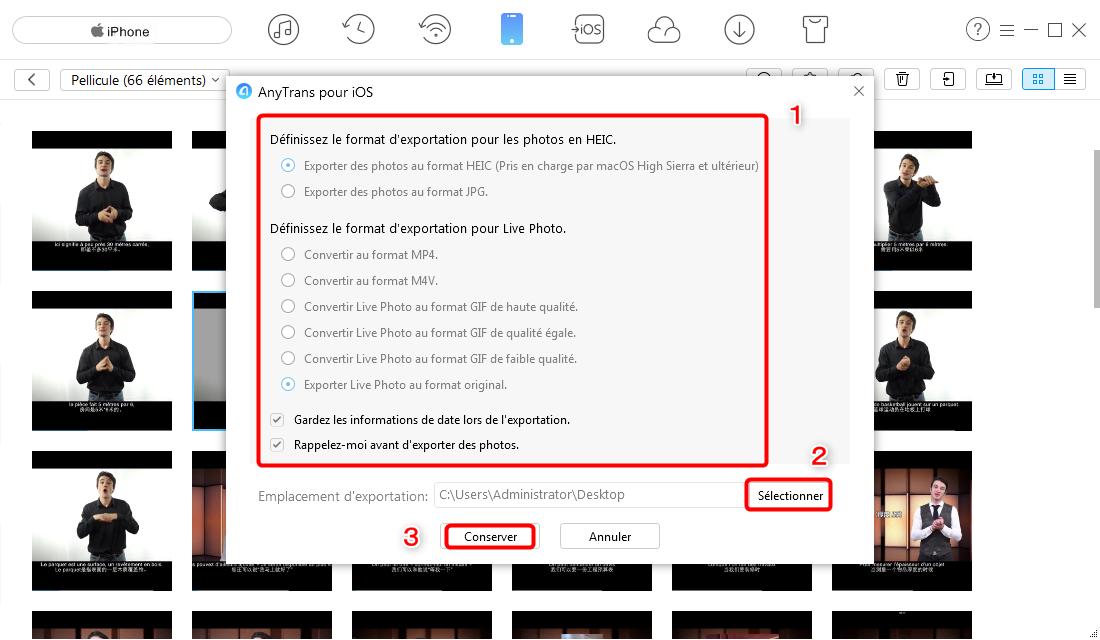 Envoyer des images iPhone vers PC Windows 8 – étape 3