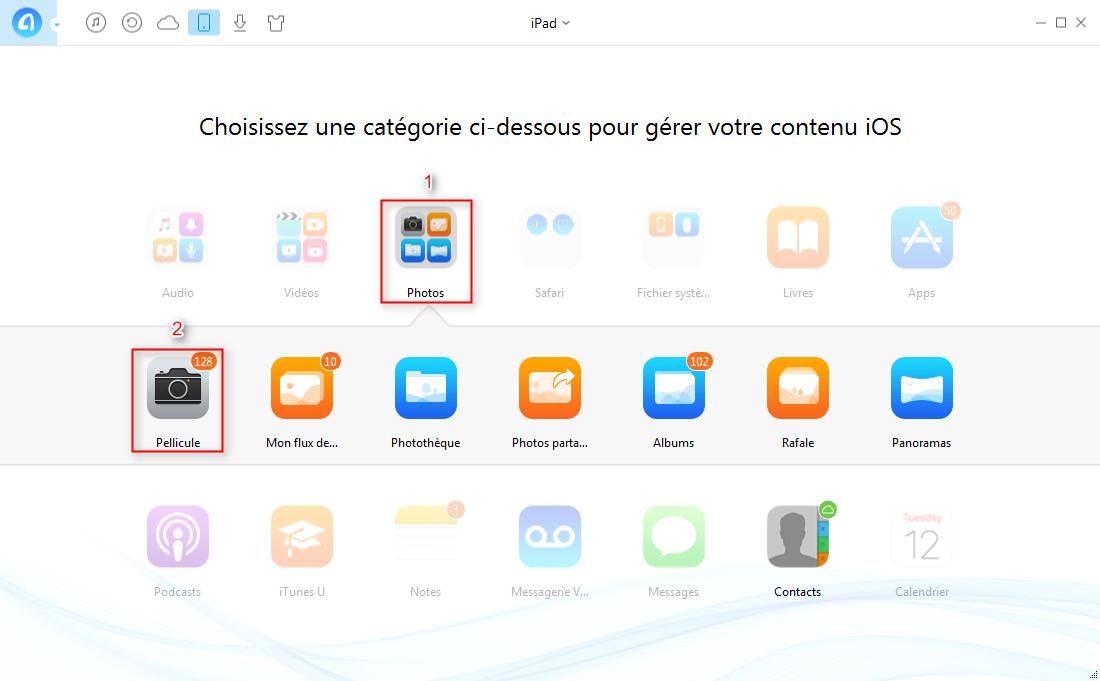 Comment transférer des photos iPad à iPhone7 directement – étape 2