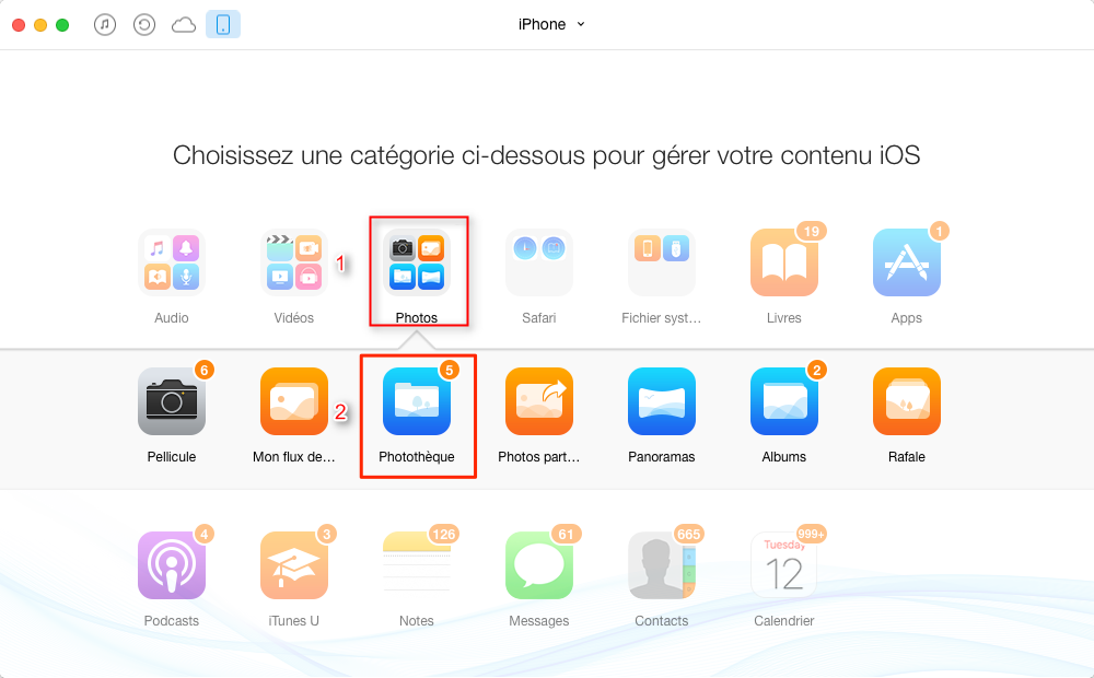 Transférer des photos iPhone 8 vers Mac – étape 2