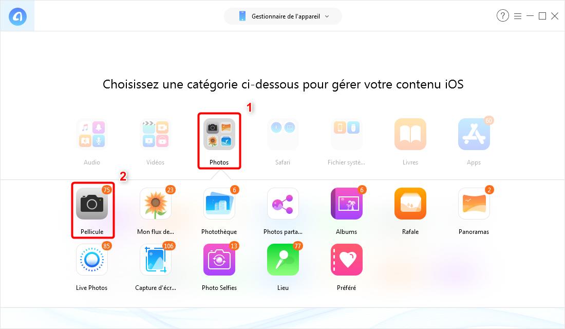 Transférer les photos d'iPhone vers l'iPhone X/XS (Max)/XR par catégorie - Étape 2