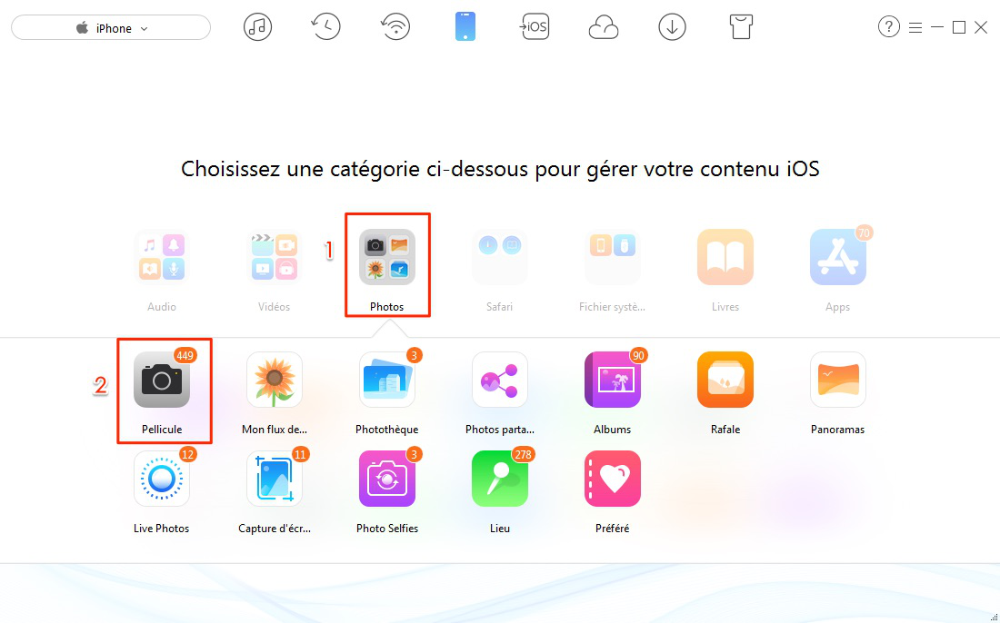 Transfert de photos iPhone 6 vers PC d'un coup – étape 2