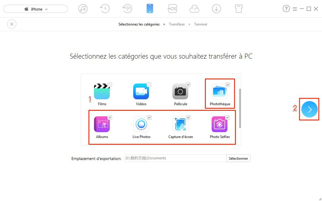 Transférer toutes les photos iPhone 6 vers PC – étape 3