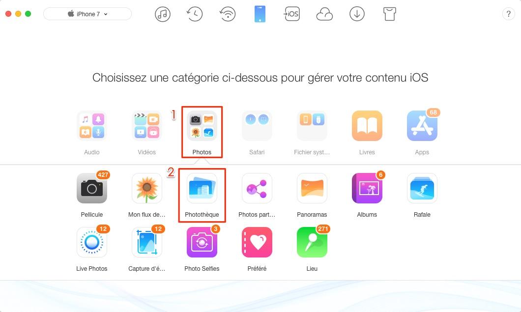 Transférer des photos de Mac à l'iPhone 7 - étape 2