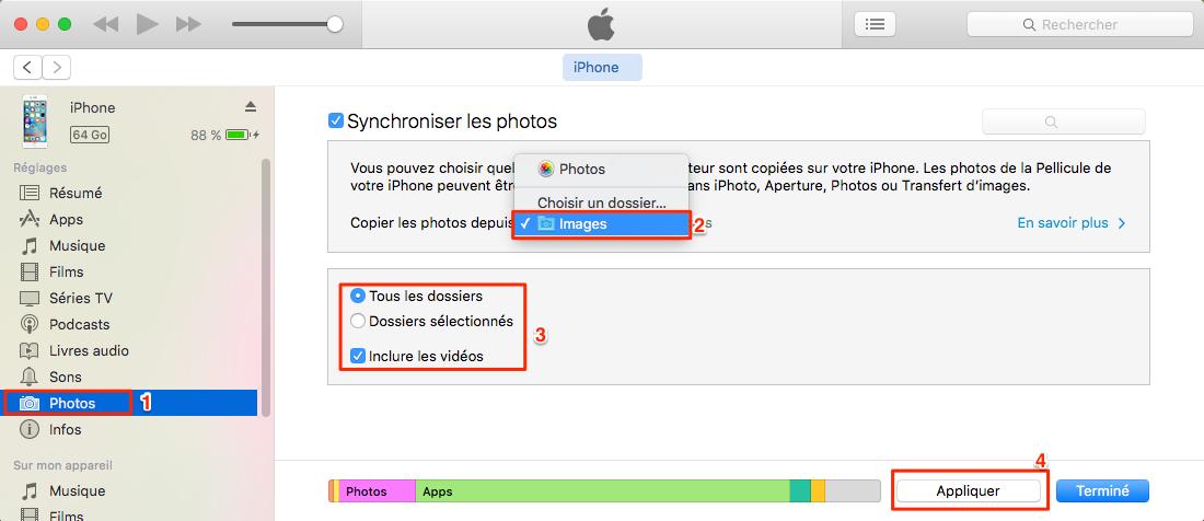 Transférer des photos de Mac à l'iPhone 7 avec iTunes