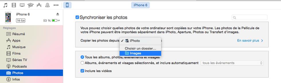 Transférer des photos de l'ordinateur à l'iPhone avec iTunes