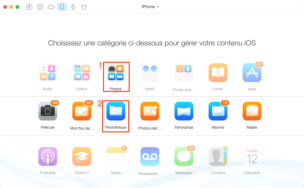 Comment importer photos PC vers iPhone – étape 2
