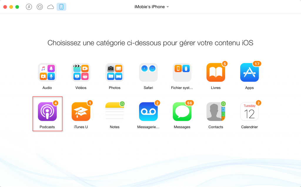 Comment envoyer les podcasts entre iPhone – étape 2