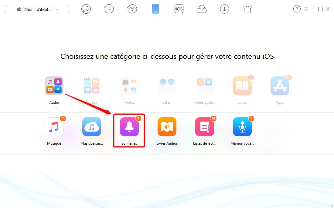 Transférer la sonnerie iPhone X/8 vers iTunes - étape 2