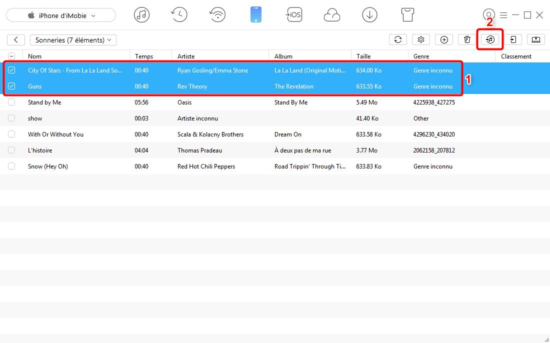 Moyen rapide d'importer les sonneries iPhone X/8 vers iTunes - étape 3