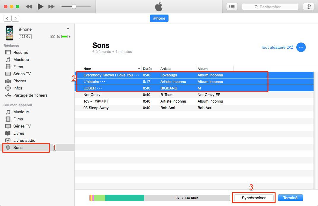 Transférer des sonneries d'iTunes vers iPhone 7 (Plus) avec iTunes
