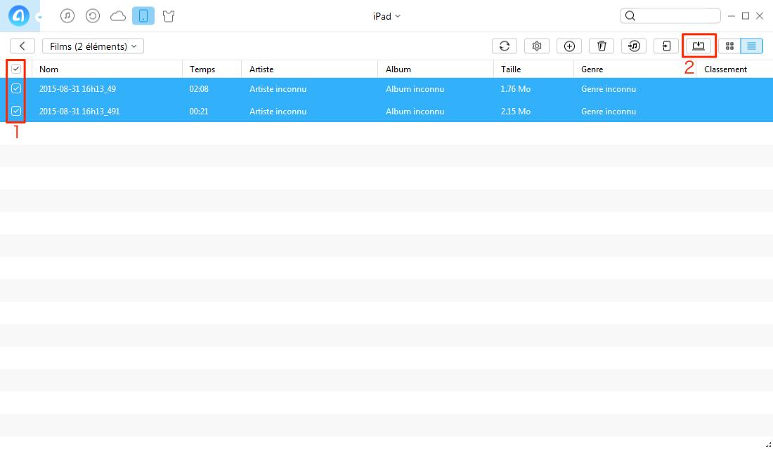 Transfert de vidéos de l'iPad vers l'ordinateur PC avec AnyTrans pour iOS - étape 3