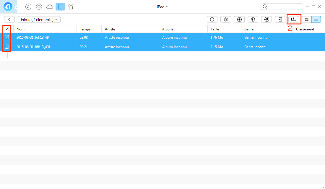 Transfert de vidéos de l'iPad vers l'ordinateur PC avec AnyTrans - étape 3