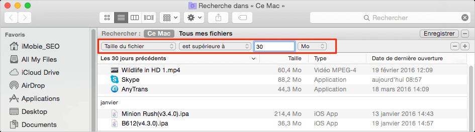 Trouver des gros fichiers sur Mac avec Outil de recherche