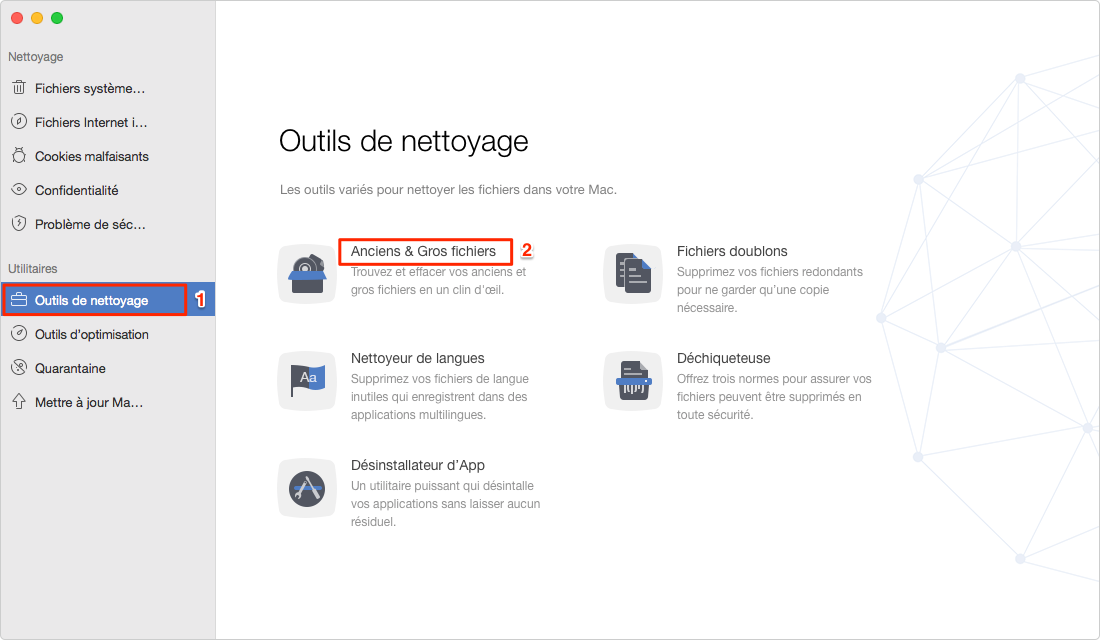 Trouver des fichiers volumineux sur Mac avec MacClean - étape 1