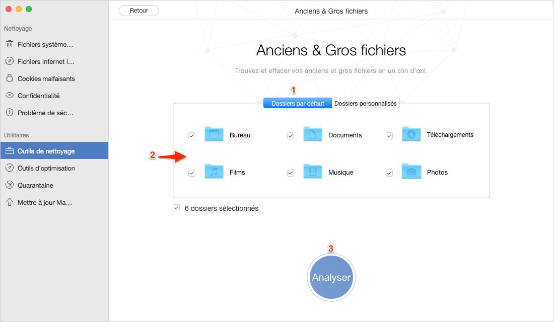 Repérer les fichiers volumineux sur Mac avec MacClean - étape 2