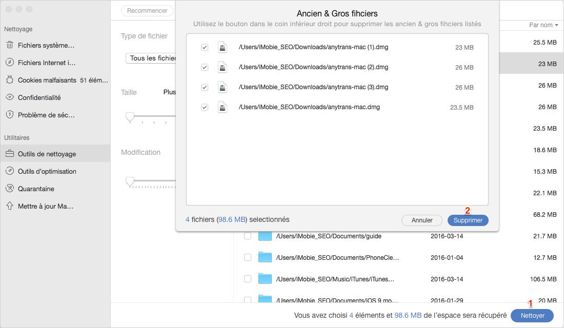 Trouver des geos fichiers sur Mac avec MacClean - étape 3