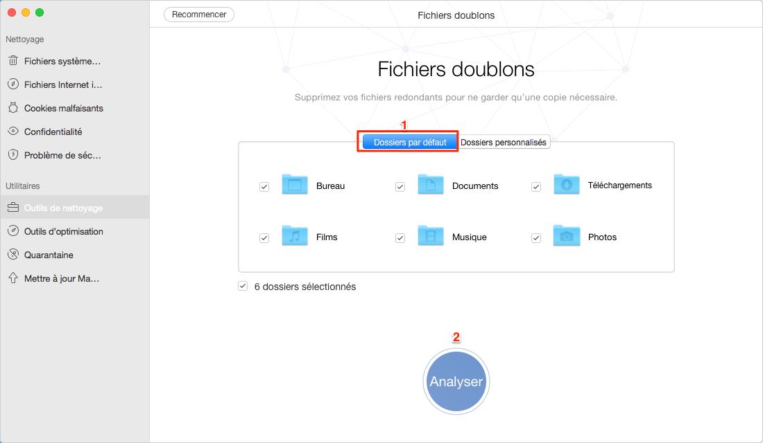 Analyser les fichiers doublons avec MacClean – étape 2