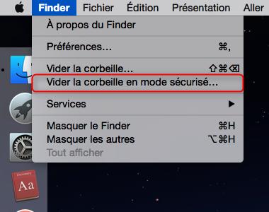 Vider la corbeille sur Mac en mode sécurisé - étape 1