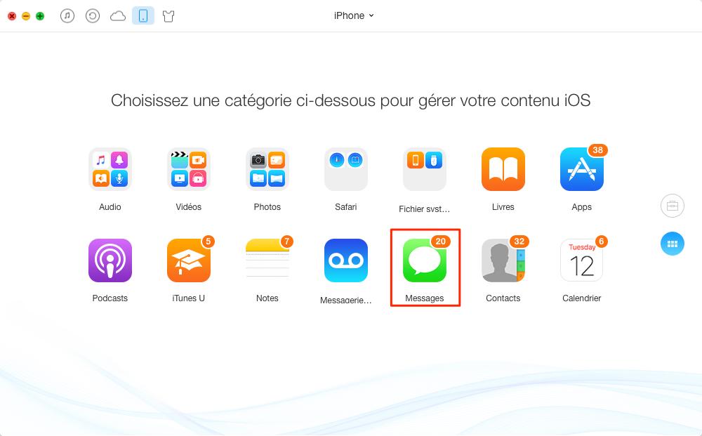 Sauvegarder les iMessages iPhone vers ordinateur avec AnyTrans – étape 2