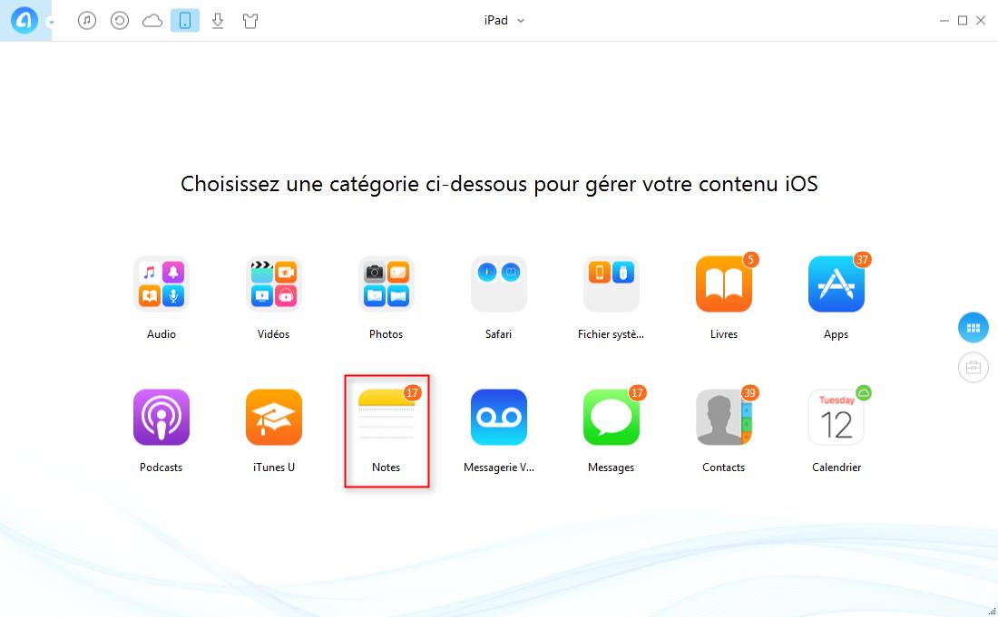 Comment sauvegarder les notes iPad sur PC sans iCloud – étape 2