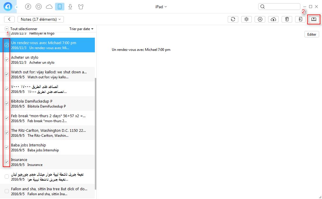 Comment sauvegarder les notes iPad sur PC sans iTunes – étape 3